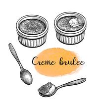 Ink Sketch Of Creme Brulee.