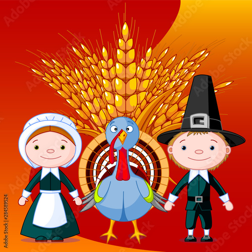 Pilgrims and turkey