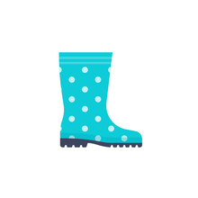 Rubber Boot Icon. Vector. Blue Polka Dot Gumboots Isolated On White Background. Flat Design. Waterproof Shoe For Rainy Weather, Gardening, Fishing. Cartoon Colorful Illustration. Autumn Symbol