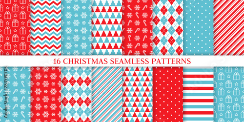 Christmas pattern. Holiday seamless background. Vector. Xmas New year endless texture with gift, snowflake, candy cane stripe, polka dot, rhombus. Print for wrapping paper web textile. Illustration
