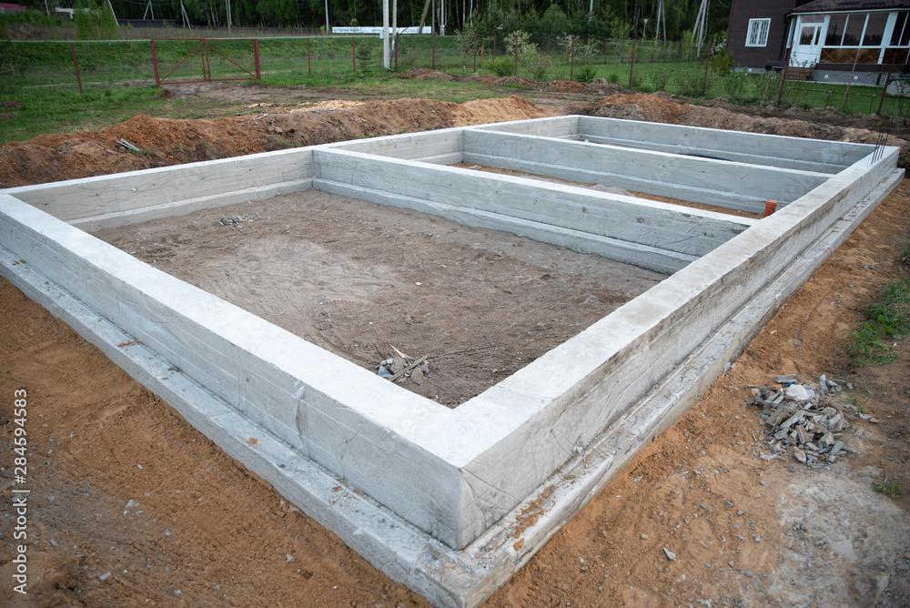 Fototapeta Prepared foundation for building a house