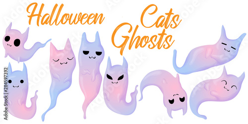 Vászonkép  Vector hand draw Halloween collection of colorful cute cats ghost in different poses and emotion in cartoons style