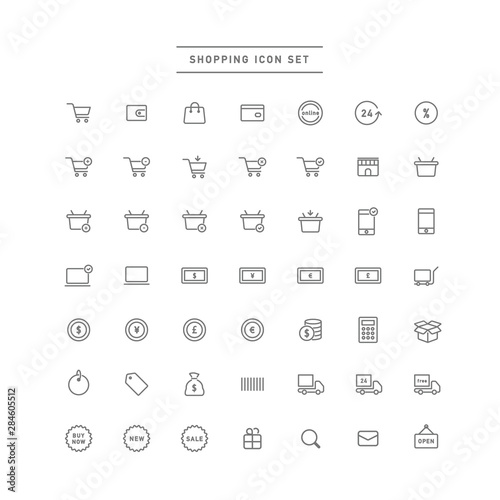 shopping icon set Wallpaper Mural