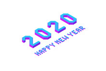 2020 Happy New Year Lettering, Bold And Thin Pixel Isometric Text, Font Element For Design In Modern Color, Stock Vector Illustration Isolated On White Background