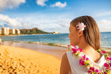 Hawaii Woman Wearing Lei Flowe...
