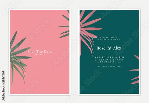 Fototapeta Minimalist botanical wedding invitation card template design, bamboo palm on pink and green obraz