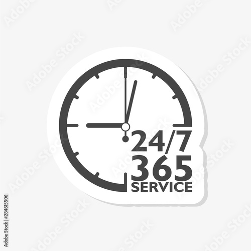 24 7 hours and 365 days sticker icon Canvas Print