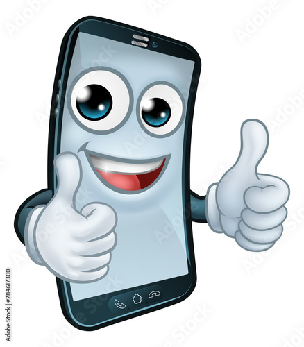 Photo  A mobile phone cartoon character mascot giving a double thumbs up