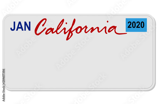 california new car digital registration plate vector Wallpaper Mural