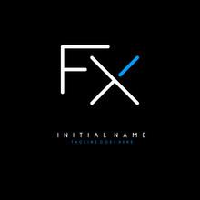 Initial F X FX Minimalist Modern Logo Identity Vector