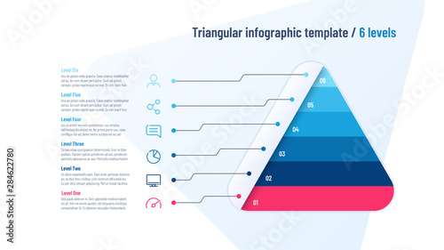 Photo  Vector infographic template in the shape of triangle, pyramid divided by 6 parts