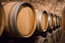 Wine Barrels. Wine Cellar And Old Winery