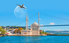 "Airplane Flying Over Ortakoy Mosque With Full Moon - Istanbul, Turkey ""Elements Of This Image Furnished By NASA"""