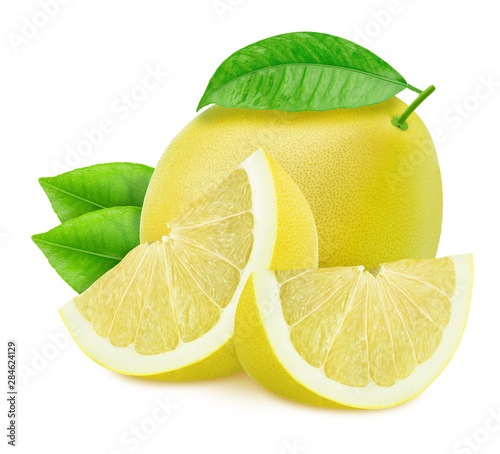 Fototapeta  Composition with pomelos isolated on white background.