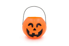 Halloween Props Cute Plastic Pumpkin Head Basket Toy Close-up On A White Background