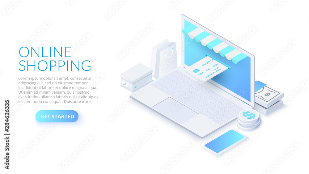 Fototapeta Isometric online shopping illustration with laptop and credit card. Concept of e-commerce sales.