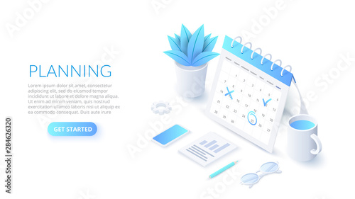 Obraz Isometric planning schedule and calendar concept. Time management concept. Illustration for web banner layout template. - fototapety do salonu