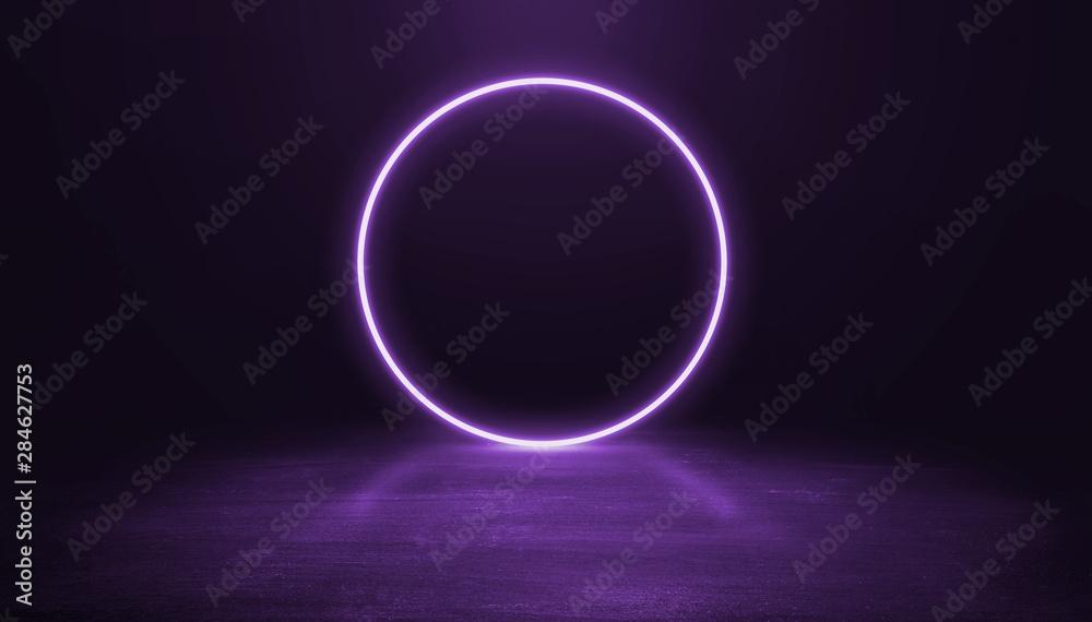 Fototapety, obrazy: Ring shaped Neon light on dark background.