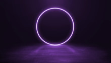 Ring Shaped Neon Light On Dark Background.