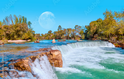 Recess Fitting Forest river Amazing view of Manavgat waterfall with full moon, Antalya
