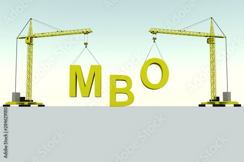 Photo  MBO building concept crane white background 3d illustration
