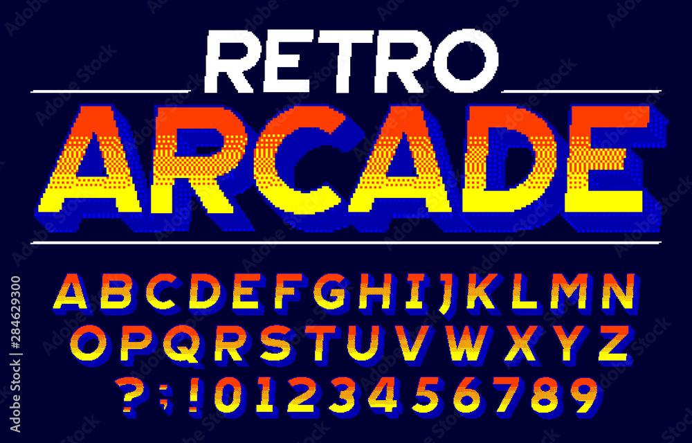 Fototapeta Retro Arcade alphabet font. 3D pixel letters and numbers. Retro 80s video game typescript.