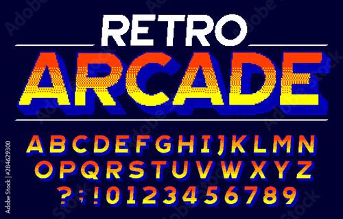 Retro Arcade alphabet font Fototapet