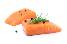 Fresh Raw Salmon Fillets Isolated On White
