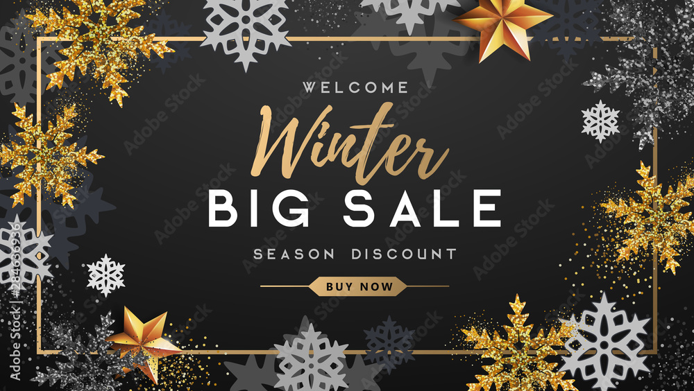 Fototapety, obrazy: Winter poster with golden Christmas snowflakes and stars. Winter big sale poster. Wiinter background