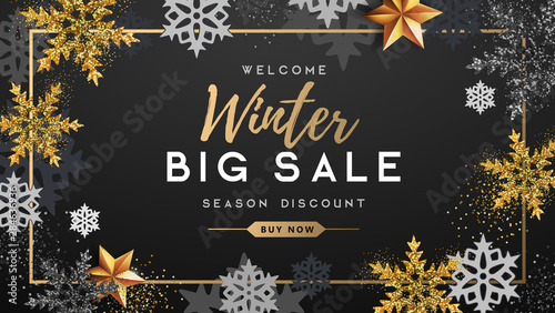 Winter poster with golden Christmas snowflakes and stars Fotobehang