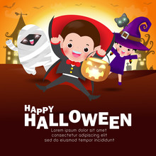 Happy Halloween Kids Costume Party. Group Of Children In Halloween Cosplay. Template For Advertising Brochure. Happy Halloween Party Poster And Theme Design Background Vector Illustration