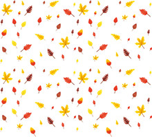 Seamless Pattern From Autumn Leaves Painted With Watercolors On White Background. Coloured Bright Leaves Hand-painted, Paint, Texture, Watercolor