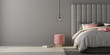 Leinwanddruck Bild - Bedroom with large gray bed and pink pouf. 3d render