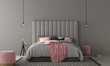 Bedroom With Large Gray Bed And Pink Poufs. 3d Render