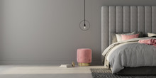 Bedroom With Large Gray Bed And Pink Pouf. 3d Render