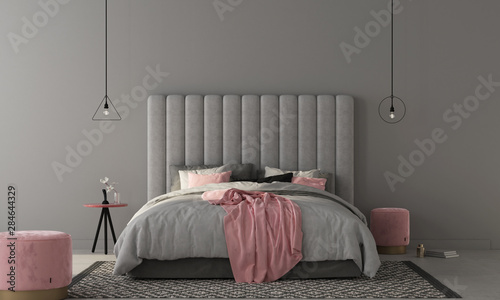 Bedroom with large gray bed and pink poufs. 3d render Canvas Print