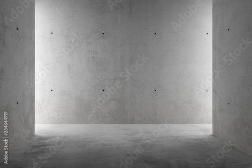 Abstract empty, modern concrete room with sidelit back wall - industrial interior background template, 3D illustration - 284644919