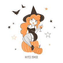 Witch Drinking Cocktail Flat Vector Illustration. Witch Power, Young Girl Sitting On Pumpkin Isolated Cartoon Character On Starry White Background. Halloween Party, Flying Bats Design Element
