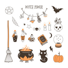 Witch Power Flat Vector Illustrations Set. Black Magic Stuff, Halloween Party Decoration. Bottles With Poison And Crystal Ball Stickers. Boiling Cauldron, Black Cat, Flying Bat Isolated Cliparts Pack