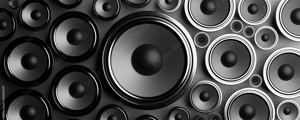 Fototapeta Multiple various size black Loudspeakers background. 3d illustration