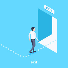 Isometric Vector Image On A Blue Background, A Man Follows The Indicated Path To The Exit Through An Open Door, An Escape Route