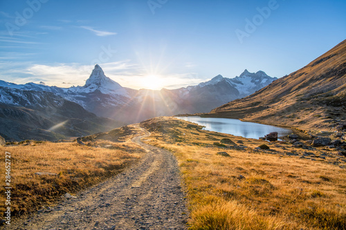 Fotografering Stellisee and Matterhorn mountain in the Swiss Alps, Switzerland