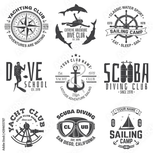Set of sailing camp, yacht club and diving club badges. Vector. Concept for shirt, stamp or tee. Vintage typography design with diving gear and sailing boat silhouette. Extreme water sport. Wall mural