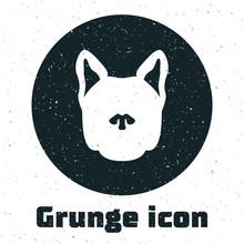 Grunge Dog Icon Isolated On White Background. Vector Illustration