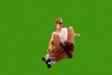 Skateboarder On Green Screen Background.