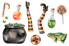 Halloween Set Of Witch Legs, Cauldron, Sweets, Candies, Frog, Toad, Potion Bottles
