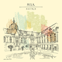 Melk, Lower Austria. Austria, Europe. Fountain At Prelate's Courtyard In Melk Benedictine Abbey. Hand Drawing. Travel Sketch. Vintage Touristic Postcard, Poster, Brochure Or Book Illustration. Vector
