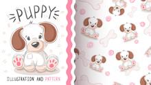 Cute Dog, Puppy - Seamless Pattern.