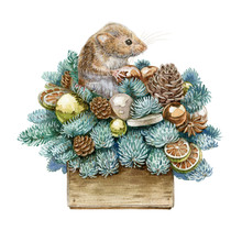 Watercolor Illustration Of A Christmas Decor Composition. New Year Decoration With A Funny Small Mouse, Balls, Cones, Pine And Fir Branches In A Wooden Box, Isolated On White Background.