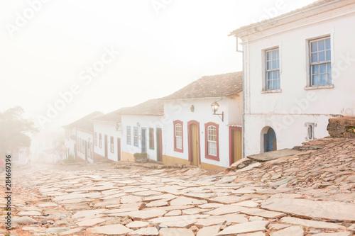Poster Brésil Historic Center with fog in the city of Tiradentes Minas Gerais Brazil